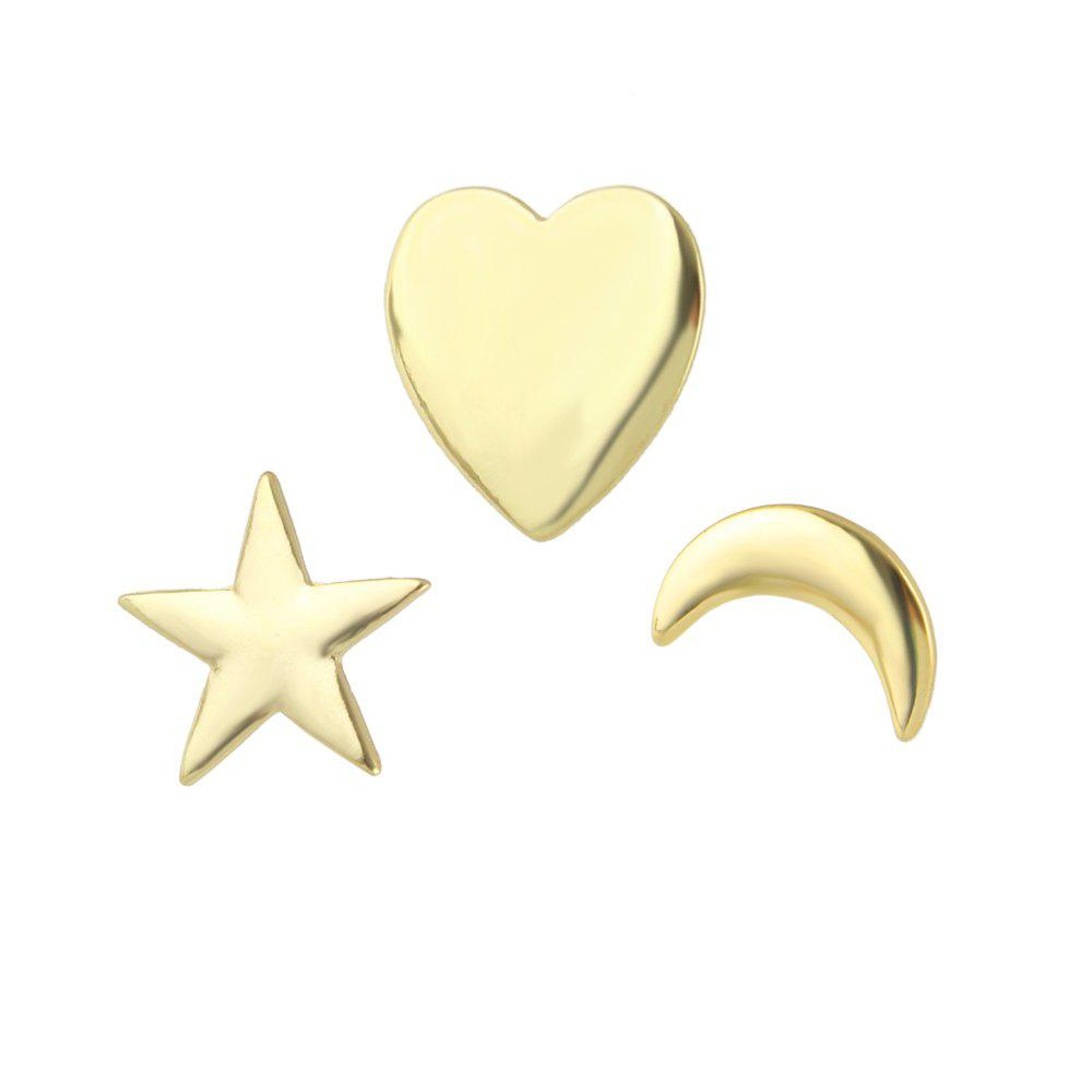 3pcs Punk Gold-color étoile coeur broche