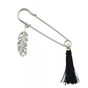 Tassel Brooch Silver Color Feather Charm -