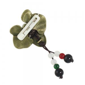 Flower Brooch with White Red Black Beads -