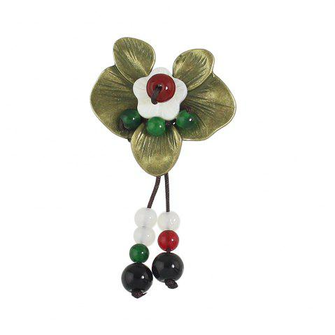 Fancy Flower Brooch with White Red Black Beads