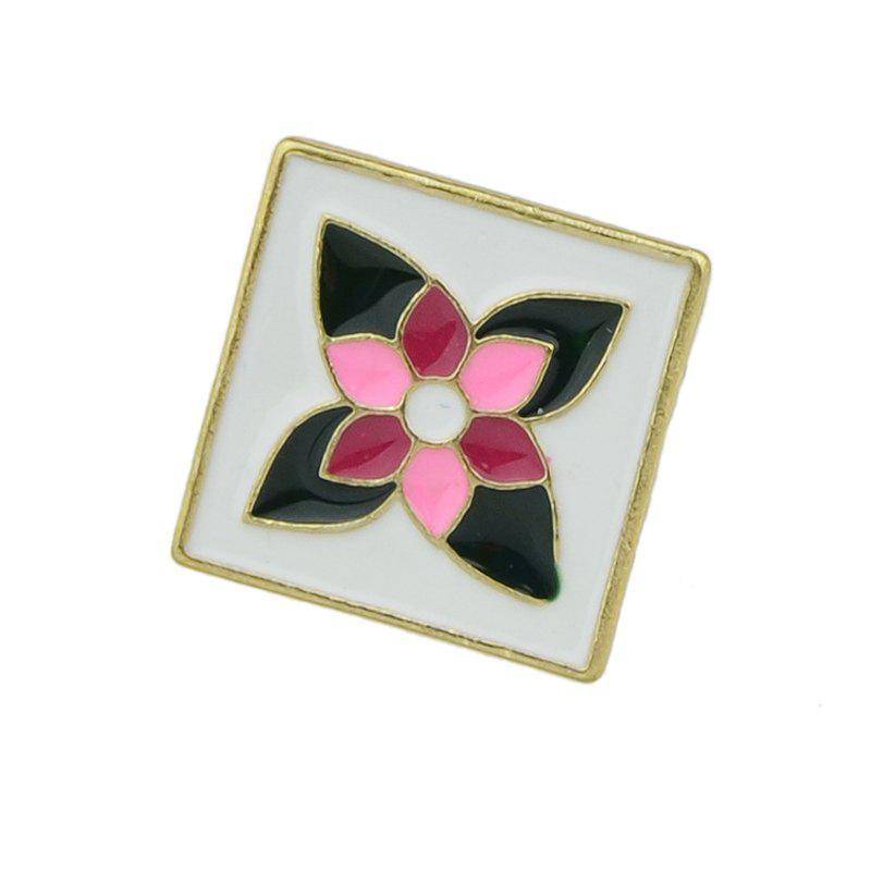 Cheap Enamel Square Brooch with Colorful Flower Pattern
