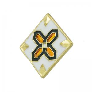 Square Brooch with Cross and Flower Pattern -