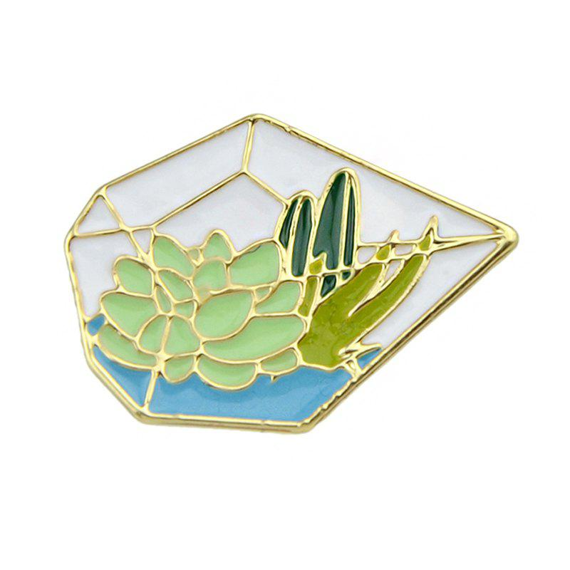 Broche de Lotus en Cactus Green Pentagone couleur or