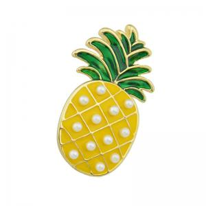 Gold-color with Green Yellow Enamel Pineapple Brooch -