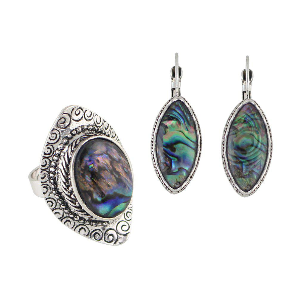 Online Colorful Shell Craved Finger Ring and Hoop Earrings