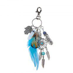 Bohemian Feathered Opal Alloy Key Ring -