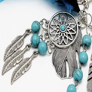 Popular Natural Turquoise Alloy Leaves Dreamcatcher Key Chain -