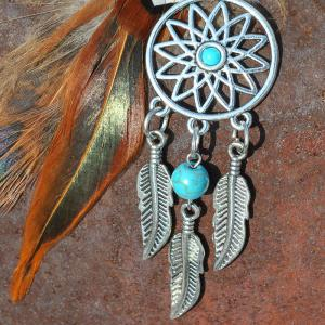Fashion Natural Crystal Feather Alloy with Dreamcatcher Key Chain -
