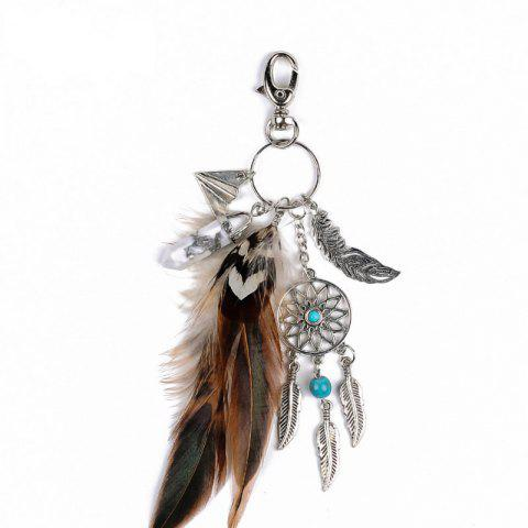 Discount Fashion Natural Crystal Feather Alloy with Dreamcatcher Key Chain