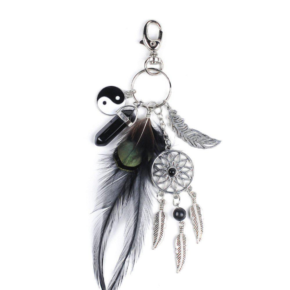 Shop Natural Crystal Alloy Tassel Tai Chi Ring Key Chain