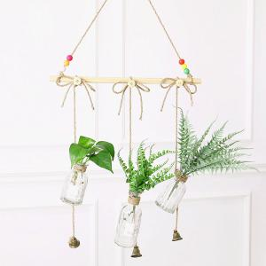 Hanging Hydroponic Glass Vase with Tree Branch Multiple Potted Plant Container -