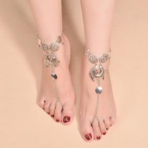 Exaggerated Ethnic Style Metal Pendant Drop Tassel Anklet -