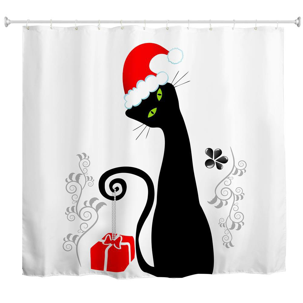 Black Cat with Red Hat Water-Proof Polyester 3D Printing Bathroom Shower Curtain