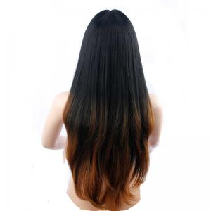 Full Machine Made Long Straight Brown Black Roots Middle Parting Party Wigs -