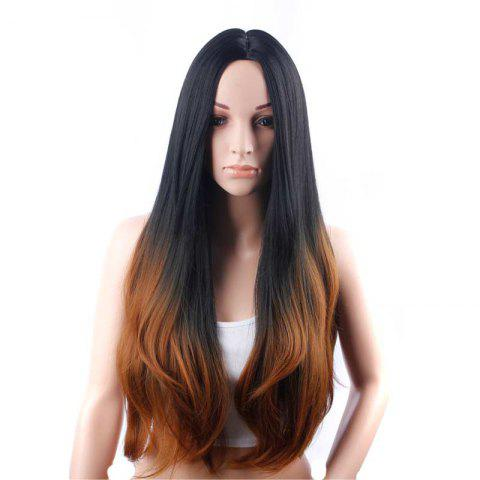 Latest Full Machine Made Long Straight Brown Black Roots Middle Parting Party Wigs
