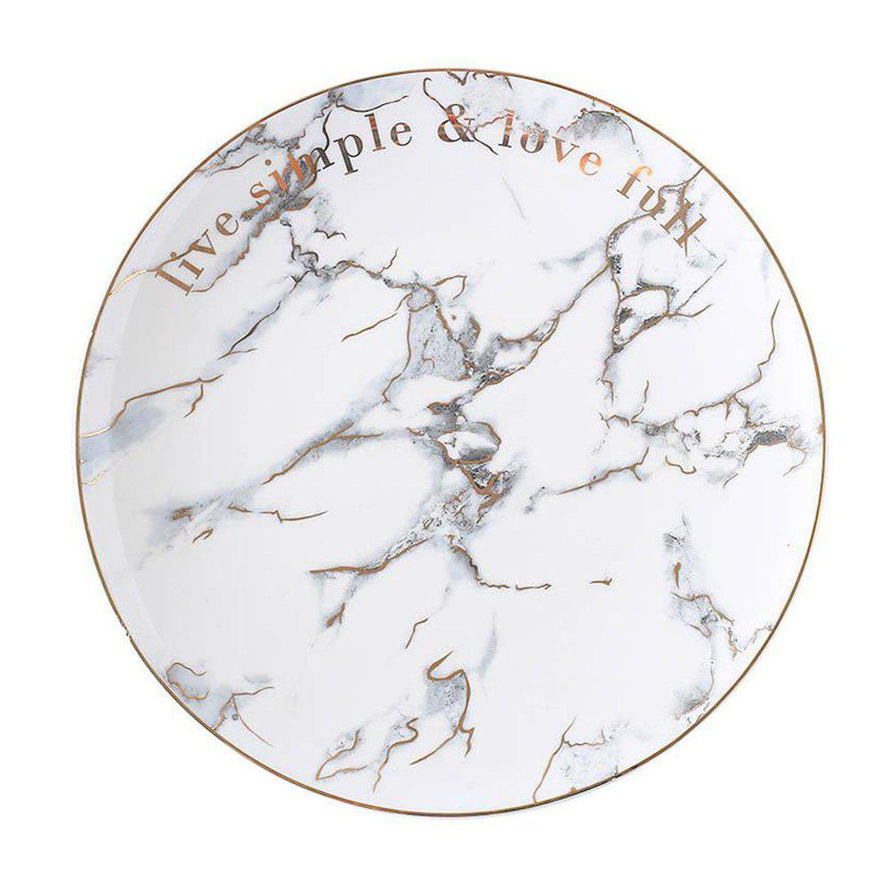 Fancy White Color Marbled Ceramic Dinner Plate