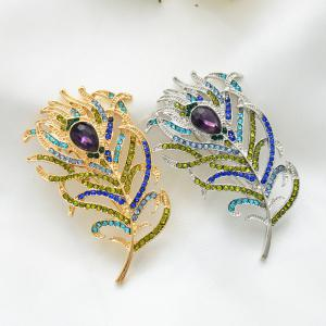 Romantic Feather Brooch Animal Pin Rhinestone Metal Vintage Fashion Jewelry -