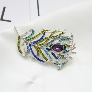Broche plume romantique Animal Pin strass métal Vintage Fashion bijoux -