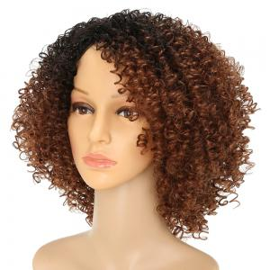 Afro Curly Hair Ombre Fluffy Fashion Short Synthetic Wigs for White Girls -