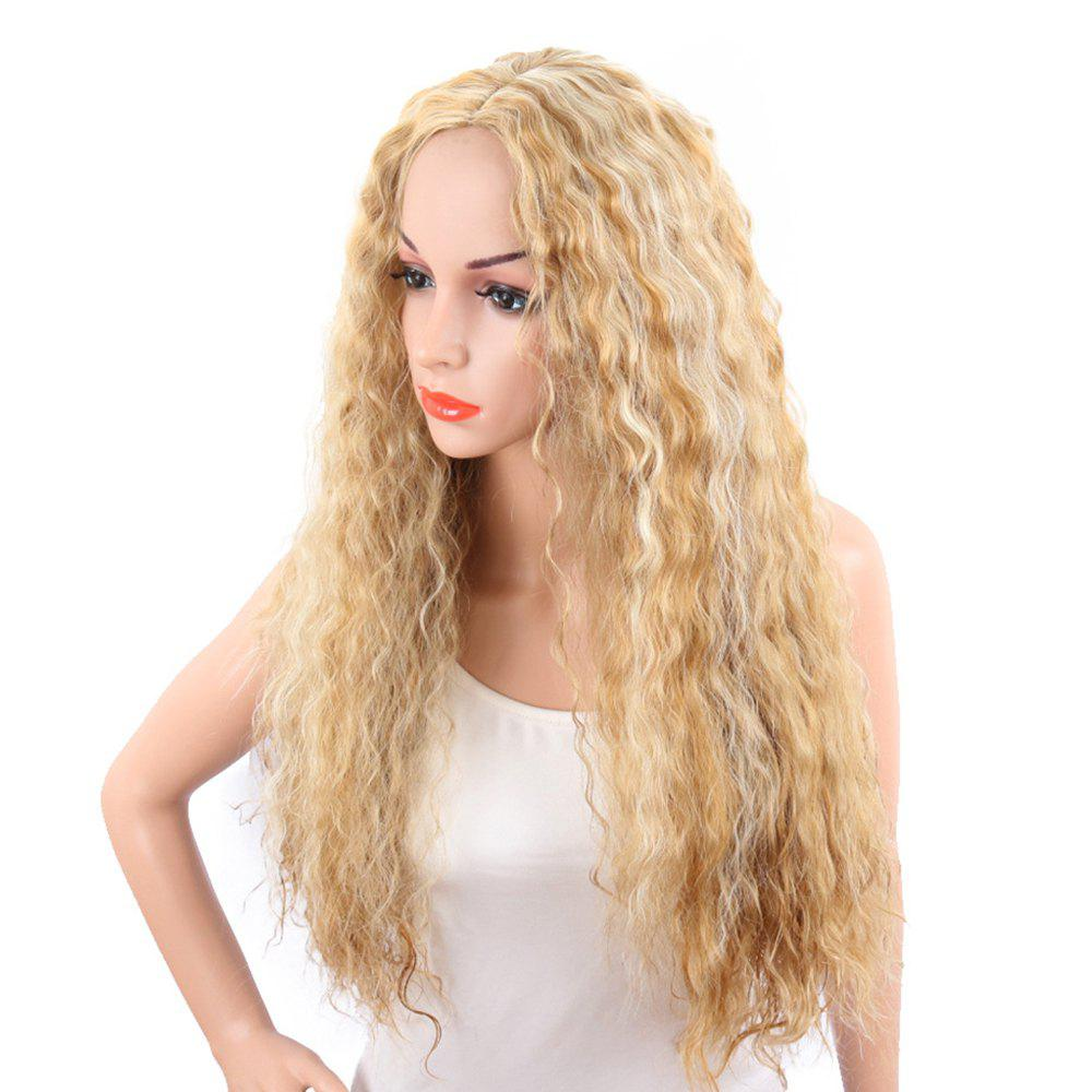 Fancy Light Blonde Corn Perm Long Curly Best Synthetic Hair Fashion Wigs for Women