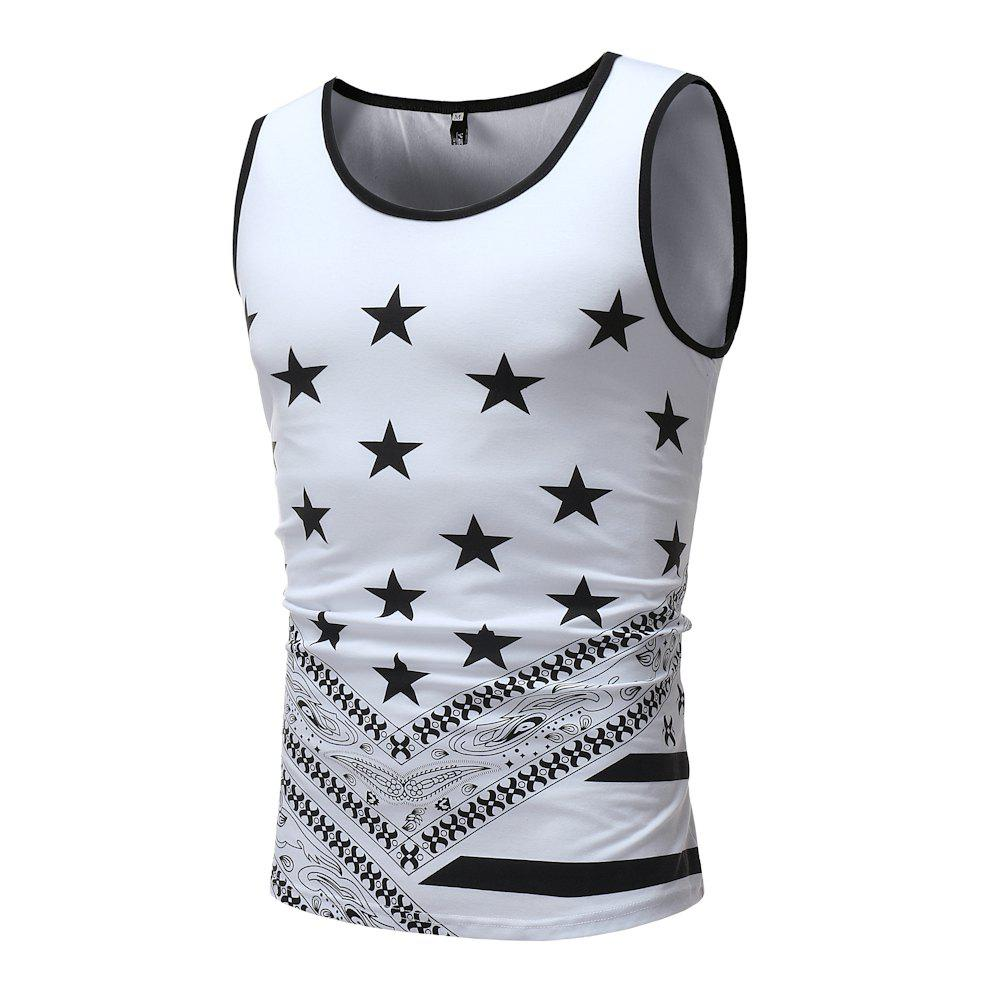 New Men's Fashion Slim Star Printed Tank Vest