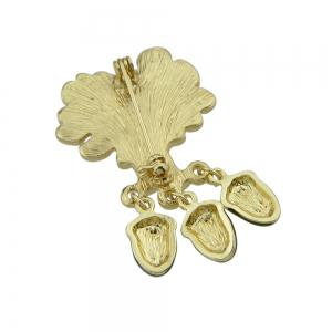 Antique Gold-color with Maple Hazelnut Brooch -
