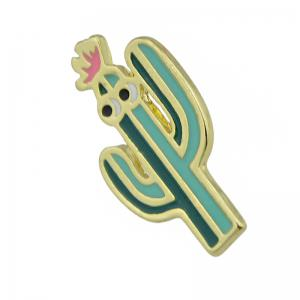 Gold-color with Green Pink Cactus Brooch -
