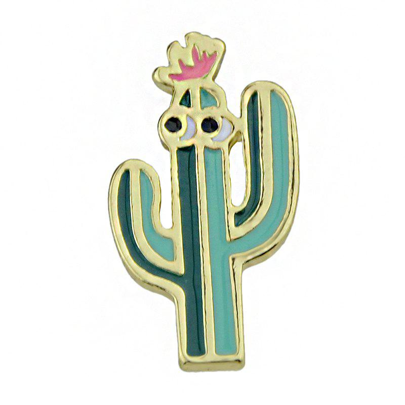 Cheap Gold-color with Green Pink Cactus Brooch