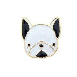 Gold-color with Black White Enamel Dog Brooch -