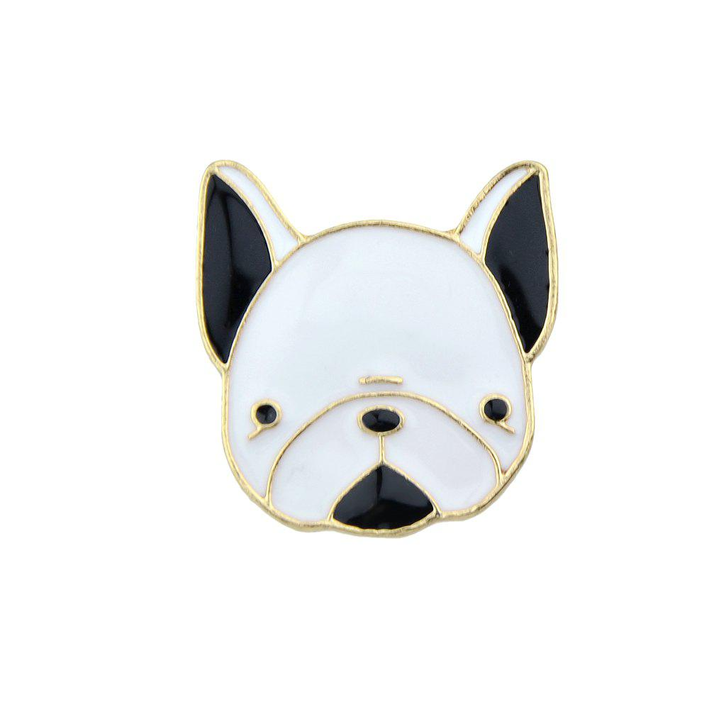 Outfit Gold-color with Black White Enamel Dog Brooch
