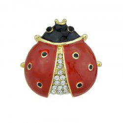 Red Black Enamel with Rhinestone Ladybug Brooch -