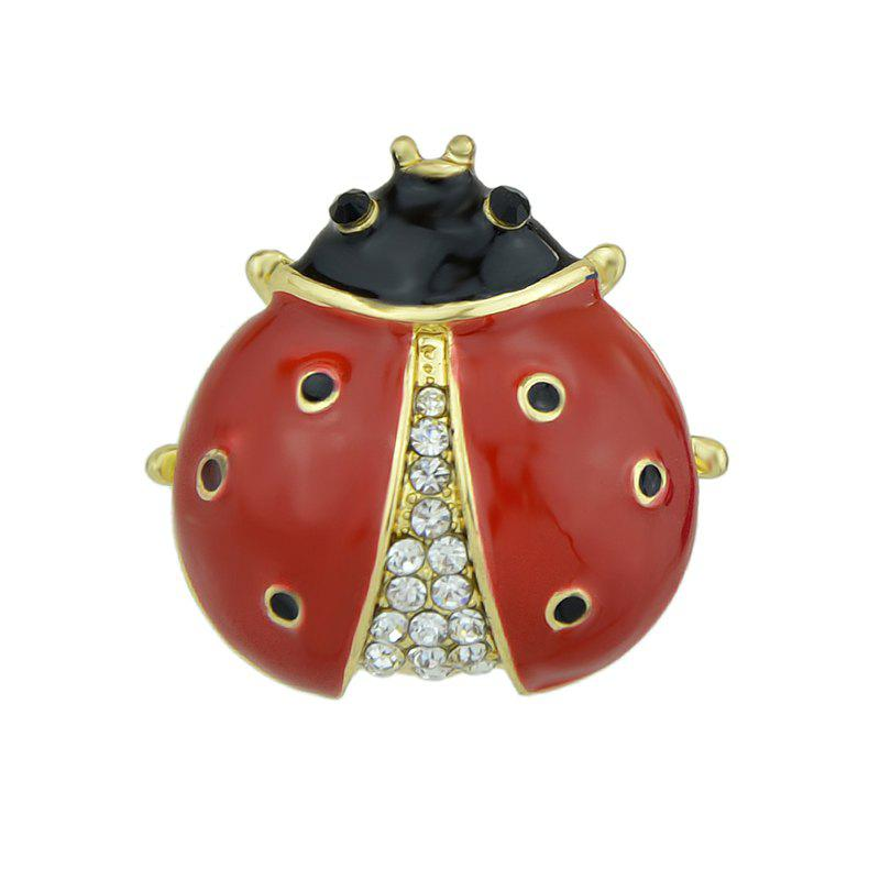 Discount Red Black Enamel with Rhinestone Ladybug Brooch
