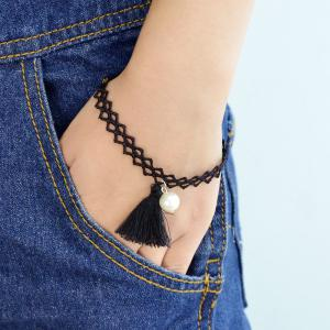 Black Color Hollow Out Chain with Tassel Charm Bracelet -