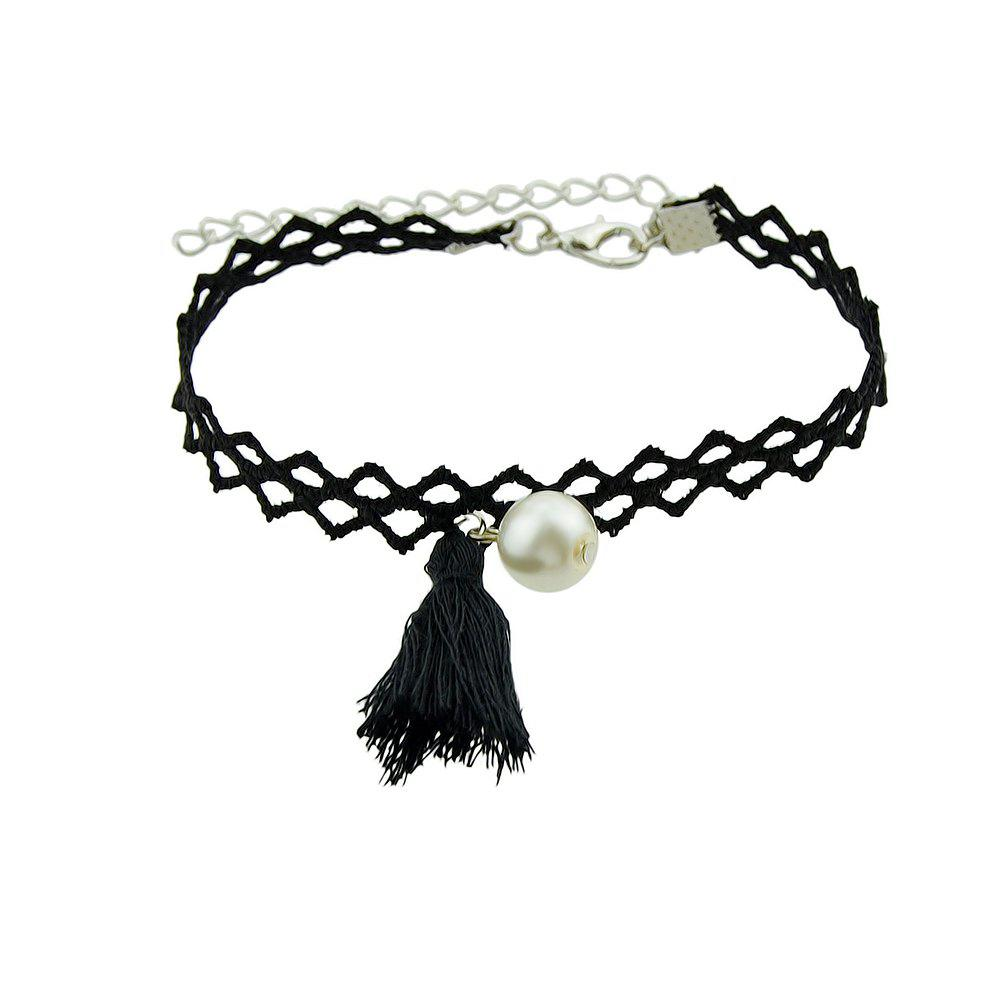 Sale Black Color Hollow Out Chain with Tassel Charm Bracelet