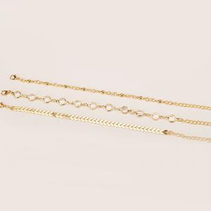 Summer Fashion Arrow Studded Three-Piece Anklet -