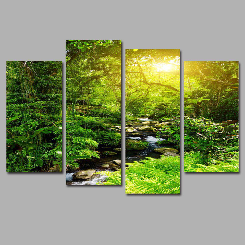Affordable Forest Creek Frameless Printed Canvas Art Print 4PCS