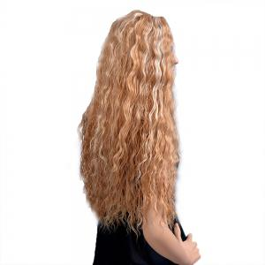 Women Fashion Blonde Corn Perm Long Curly Fluffy Heat Resistant Synthetic Wigs -