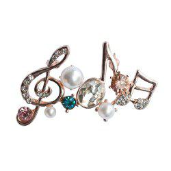 Unisex Classical Musical Note Brooch Pins Mosaic Rhinestone -