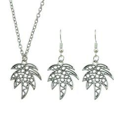 Tropical Plant Coconut Tree Pendant Necklace and Drop Earrings -
