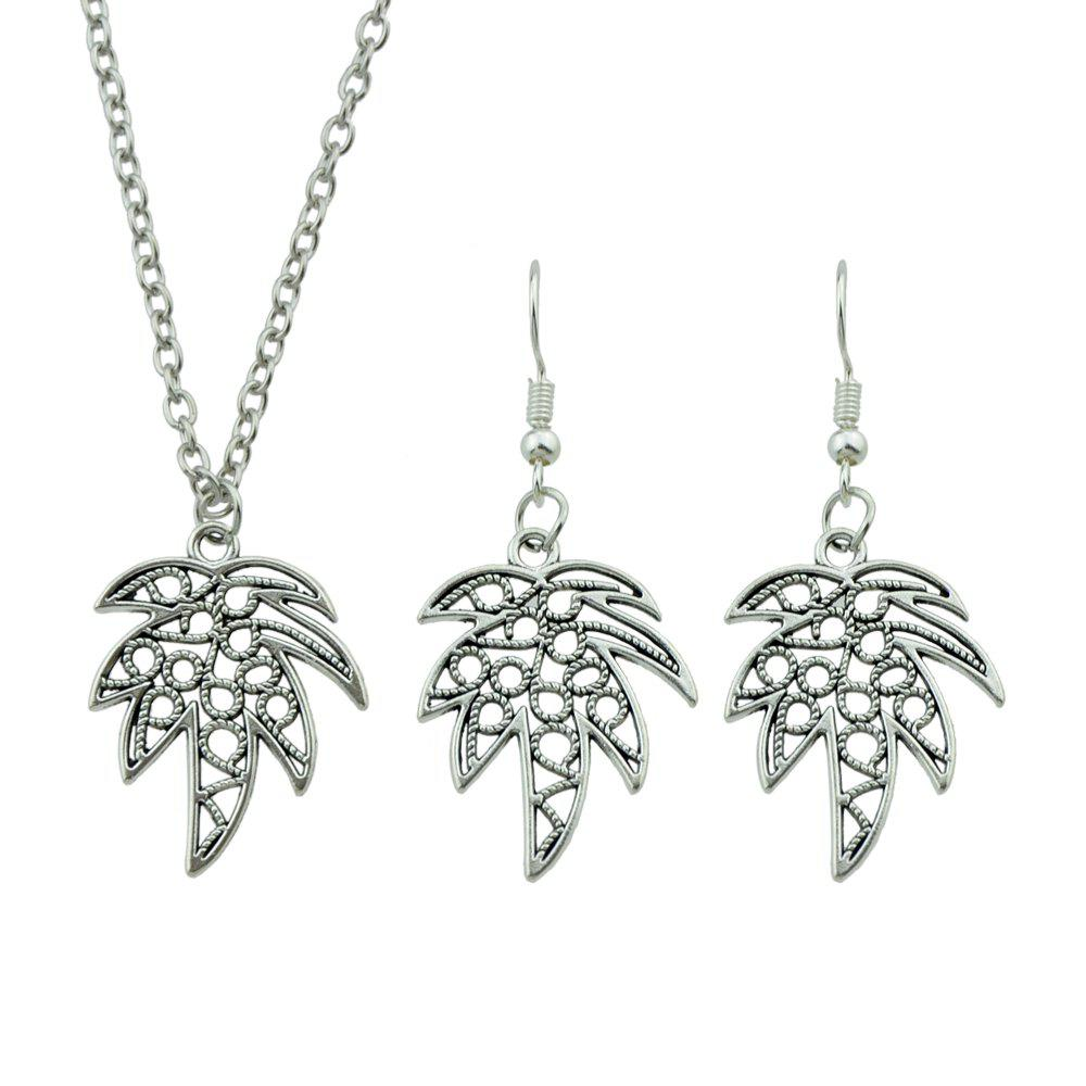 Outfits Tropical Plant Coconut Tree Pendant Necklace and Drop Earrings