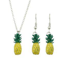 Green Yellow Enamel Pineapple Pendant Necklace and Earrings -