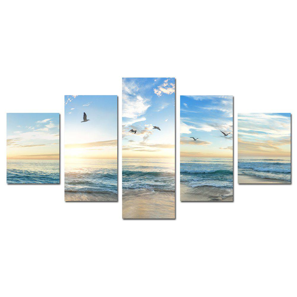 W353 Sea and Seagulls Unframed Wall Canvas Prints for Home Decorations 5PCS