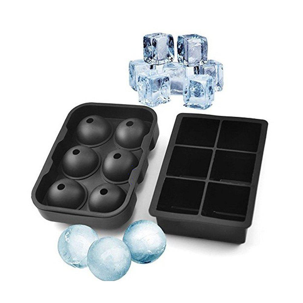 Fashion Ice Cube Trays Silicone Set Of 2 Sphere Round Ball Maker