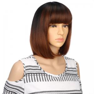 Fashion Short Black Brown Bob Natural Straight Hair Synthetic City Party Wigs -