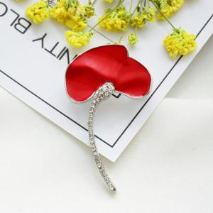 Wedding Red Poppy Flower Brooch Pins Fashion Jewelry Enamel Brooches for Women -