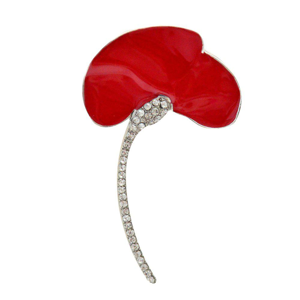 Outfit Wedding Red Poppy Flower Brooch Pins Fashion Jewelry Enamel Brooches for Women