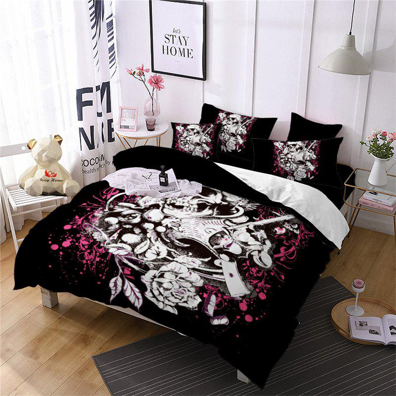 Outfit AS103-B Double Gun Rose Skeleton Fear Personality Decorative Pattern Bedding Set