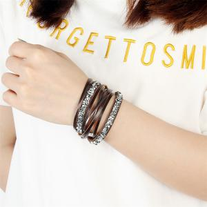 Fashion Accessories Multi-Layer Cowhide Diamond Magnet Clasp Bracelet -