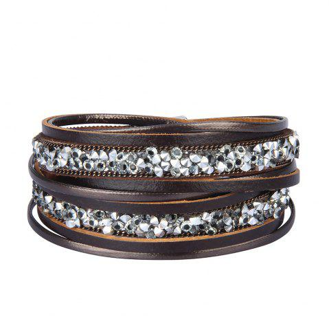 Shop Fashion Accessories Multi-Layer Cowhide Diamond Magnet Clasp Bracelet