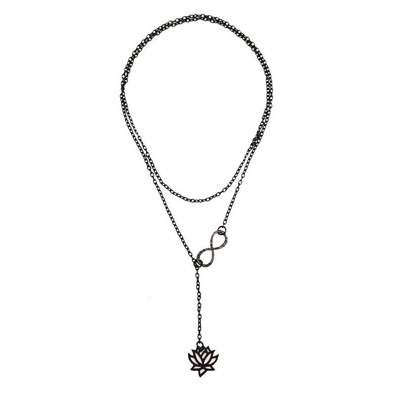 Online Simple and Fashionable Hollowed-Out Plant Flower Lotus Necklace